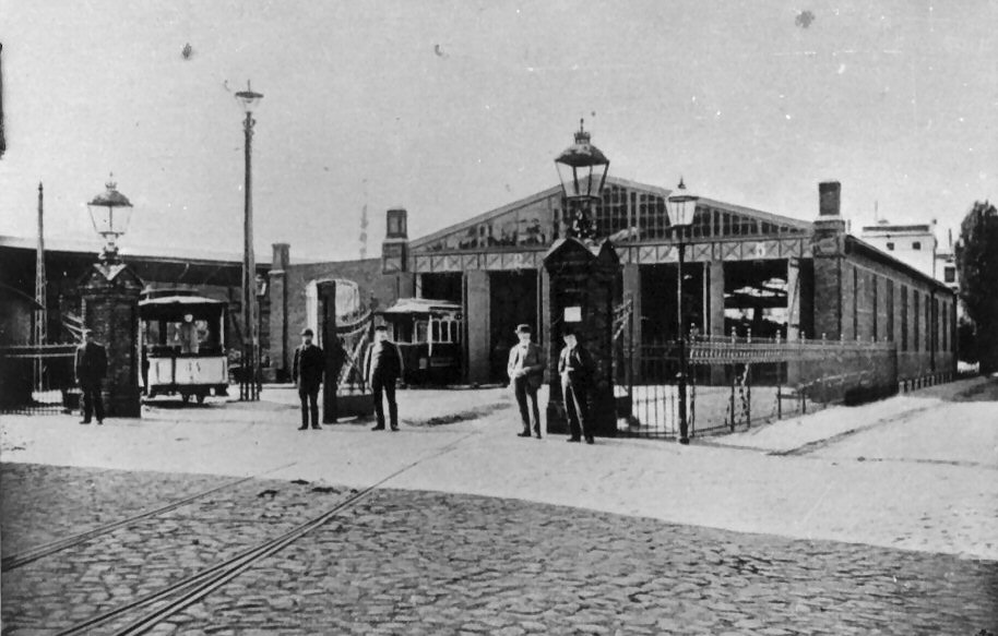 Rok 1897. Zajezdnia tramwajowa na ul. Łąkowej.  Fot. archiwum ZKM w Gdańsku